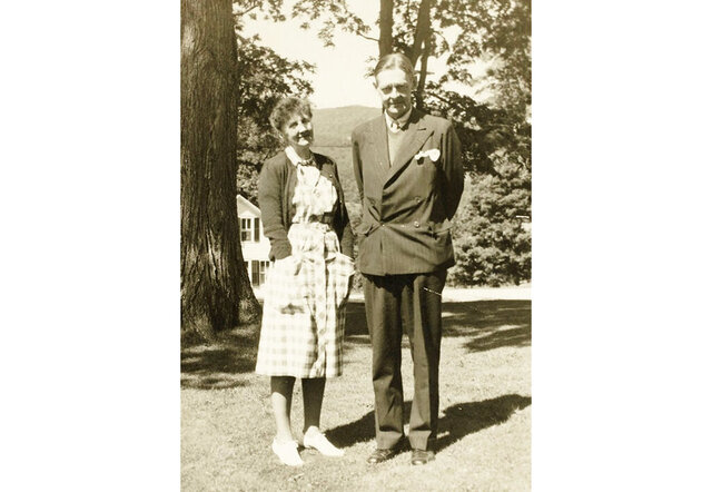 Emily Hale and T.S. Eliot pose in a 1946 family photo in Dorset, Vermont. After more than 60 years of sitting sealed up in a storage facility at Princeton University Library, about 1,000 letters written by poet T.S. Eliot to confidante Emily Hale will be unveiled, revealing the extent of their relationship that scholars have speculated about for decades. (Princeton University Library via AP)