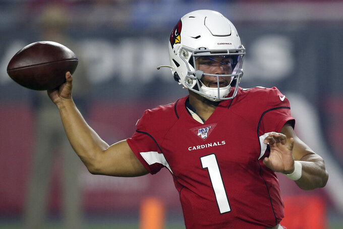 Arizona Cardinals quarterback Kyler Murray (1) looks to throw against the Los Angeles Chargers during the first half of an NFL preseason football game, Thursday, Aug. 8, 2019, in Glendale, Ariz. (AP Photo/Ross D. Franklin)