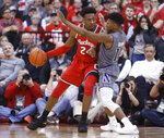 Ohio State's Andre Wesson, left, posts up against Northwestern's Anthony Gaines during the first half of an NCAA college basketball game Wednesday, Feb. 20, 2019, in Columbus, Ohio. (AP Photo/Jay LaPrete)
