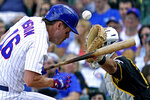 Chicago Cubs' Patrick Wisdom, left, is hit by a pitch from Pittsburgh Pirates relief pitcher Shea Spitzbarth during the sixth inning of a baseball game in Chicago, Sunday, Sept. 5, 2021. (AP Photo/Nam Y. Huh)