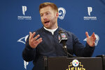 Los Angeles Rams coach Sean McVay meets with reporters following the teams' NFL football game against the Pittsburgh Steelers in Pittsburgh, Sunday, Nov. 10, 2019. The Steelers won 17-12. (AP Photo/Don Wright)