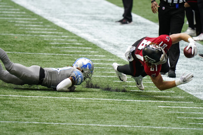 Atlanta Falcons tight end Hayden Hurst (81) makes the catch against the Detroit Lions during the second half of an NFL football game, Sunday, Oct. 25, 2020, in Atlanta. (AP Photo/Brynn Anderson)