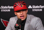 Arizona Cardinals NFL football second-round draft pick Byron Murphy is introduced, Saturday, April 27, 2019, at the Cardinals' practice facility in Tempe, Ariz. (AP Photo/Matt York)