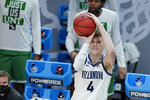 Villanova's Chris Arcidiacono shoots during the first half of a second-round game against North Texas in the NCAA men's college basketball tournament at Bankers Life Fieldhouse, Sunday, March 21, 2021, in Indianapolis. (AP Photo/Darron Cummings)