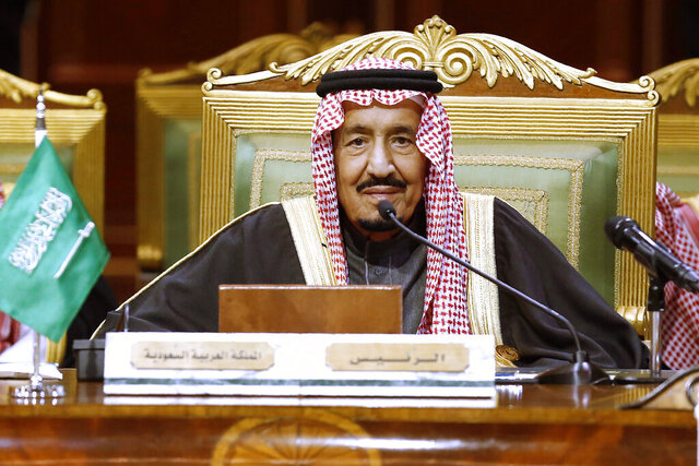 FILE - In this Dec. 10, 2019, file photo, Saudi King Salman chairs the 40th Gulf Cooperation Council Summit in Riyadh, Saudi Arabia. King Salman has been admitted to a hospital in the capital, Riyadh, for medical tests due to inflammation of the gallbladder, the kingdom's Royal Court said Monday, July 20, 20202 in a statement carried by the official Saudi Press Agency. (AP Photo/Amr Nabil)