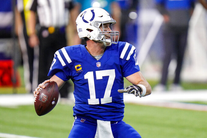 Indianapolis Colts quarterback Philip Rivers (17) throws against the Houston Texans in the first half of an NFL football game in Indianapolis, Sunday, Dec. 20, 2020. (AP Photo/AJ Mast)