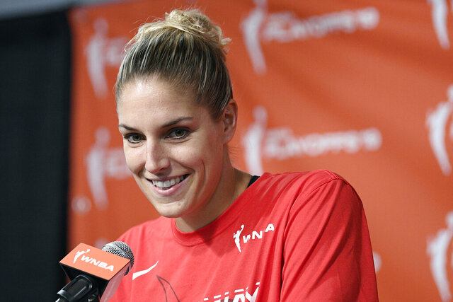 FILE - In this Sept. 19, 2019, file photo, Washington Mystics forward Elena Delle Donne speaks at a press conference where she was named the 2019 WNBA most valuable player in Washington. The WNBA champion Mystics say reigning MVP Elena Delle Donne is expected to be ready for the start of the season after undergoing back surgery. (AP Photo/Nick Wass, File)