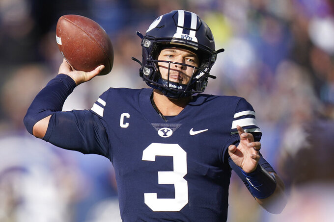 BYU quarterback Jaren Hall (3) throws against Boise State in the second half during an NCAA college football game Saturday, Oct. 9, 2021, in Provo, Utah. (AP Photo/Rick Bowmer)