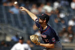 Minnesota Twins pitcher John Gant delivers to the New York Yankees during the first inning of a baseball game on Monday, Sept. 13, 2021, in New York. (AP Photo/Adam Hunger)