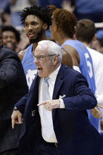 North Carolina head coach Roy Williams reacts during the second half of an NCAA college basketball game against Duke in Chapel Hill, N.C., Saturday, Feb. 8, 2020. (AP Photo/Gerry Broome)