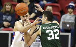 Colorado State's Nico Carvacho (32) defends as Boise State's Zach Haney (11) passes during the second half of an NCAA college basketball game in the Mountain West Conference tournament Wednesday, March 13, 2019, in Las Vegas. (AP Photo/Isaac Brekken)