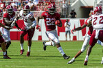 Alabama running back Najee Harris (22) runs the ball against New Mexico State during the first half of an NCAA college football game, Saturday, Sept. 7, 2019, in Tuscaloosa, Ala. (AP Photo/Vasha Hunt)