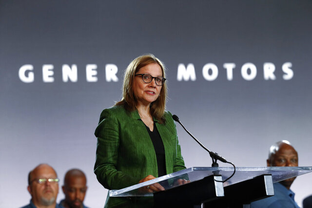 FILE - In this July 16, 2019 file photo, General Motors Chairman and Chief Executive Officer Mary Barra speaks during the opening of their contract talks with the United Auto Workers in Detroit.   General Motors says it will no longer support the Trump administration in legal efforts to end California's right to set its own clean-air standards.  Barra said in a  letter Monday, Nov. 23, 2020 to environmental groups that GM will pull out of the lawsuit, and it urges other automakers to do so.  (AP Photo/Paul Sancya)