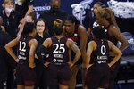 Indiana Fever coach Marianne Stanley talks to the team during the second half of a WNBA basketball game against the Seattle Storm, Thursday, June 17, 2021, in Indianapolis. (AP Photo/Darron Cummings)