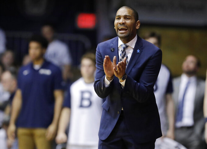 FILE - In this Feb. 16, 2019, file photo, Butler coach LaVall Jordan encourages his team during the second half of an NCAA college basketball game against DePaul in Indianapolis. Much like what's happened at other small-school programs such as Butler and Xavier, Gonzaga's trajectory isn't lost on Buffalo coach Nate Oats, who has wondered whether the same can't one day be realized at Buffalo. (AP Photo/Darron Cummings, File)