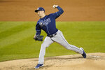 Tampa Bay Rays' Blake Snell delivers a pitch during the second inning of a baseball game against the New York Mets Tuesday, Sept. 22, 2020, in New York. (AP Photo/Frank Franklin II)
