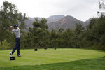 Justin Thomas hits from the ninth tee during the second round of the Zozo Championship golf tournament Friday, Oct. 23, 2020, in Thousand Oaks, Calif. (AP Photo/Marcio Jose Sanchez)