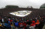 A general view of Notre Dame Stadium is seen in the second period of the NHL Winter Classic hockey game between the Boston Bruins and the Chicago Blackhawks, Tuesday, Jan. 1, 2019, in South Bend, Ind. (AP Photo/Nam Y. Huh)