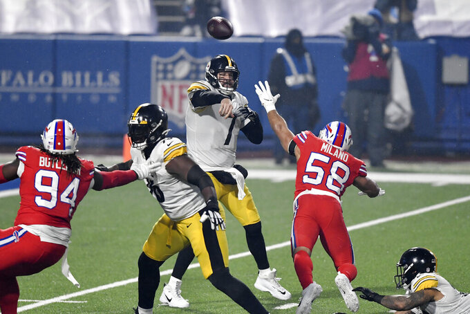 Pittsburgh Steelers quarterback Ben Roethlisberger (7) throws a pass under pressure by Buffalo Bills outside linebacker Matt Milano (58) during the first half of an NFL football game in Orchard Park, N.Y., Sunday, Dec. 13, 2020. (AP Photo/Adrian Kraus)