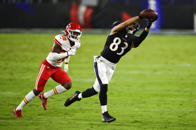 Kansas City Chiefs cornerback L'Jarius Sneed (38) covers Baltimore Ravens wide receiver Willie Snead (83) as Snead catches a pass during the first half of an NFL football game Monday, Sept. 28, 2020, in Baltimore. (AP Photo/Gail Burton)