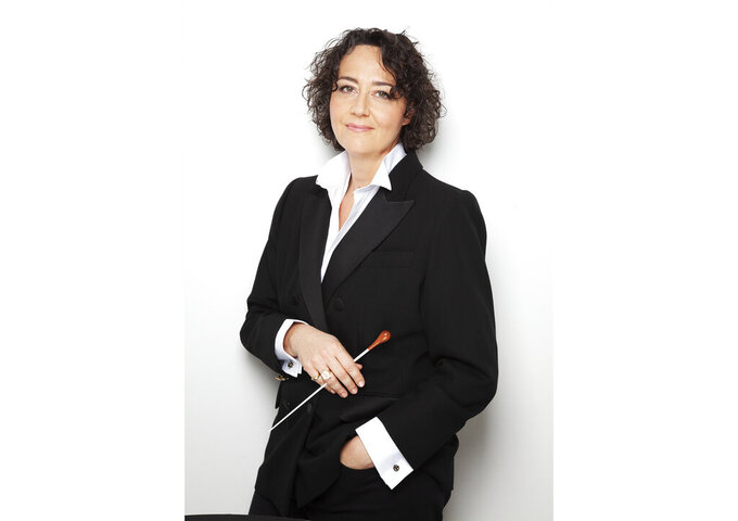 This undated image released by the Atlanta Symphony Orchestra shows Nathalie Stutzmann, the French-born contralto turned conductor,  who will succeed Robert Spano as music director of the Atlanta Symphony Orchestra starting with the 2022-23 season. (Simon Fowler/Atlanta Symphony Orchestra via AP)