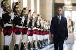 FILE - In this July 3, 2017 file photo, then French Parliament President Francois de Rugy walks through the galerie des Bustes (Busts gallery) at the Chateau de Versailles, outside Paris. Francois de Rugy resigned Tuesday July 16, 2019 over reports of publicly funded lavish lifestyle. (Etienne Laurent/Pool Photo via AP, File)