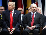 In this Dec. 15, 2017, file photo, President Donald Trump and Attorney General Jeff Sessions attend the FBI National Academy graduation ceremony in Quantico, Va. Sessions is part of a crowded GOP primary field competing to challenge U.S. Sen Doug Jones for the seat Sessions held for 20 years before becoming Trump's first attorney general. Sessions' recusal from the Russia inquiry prompted blistering public criticism from Trump, who eventually asked him to resign as attorney general. (AP Photo/Evan Vucci, File)