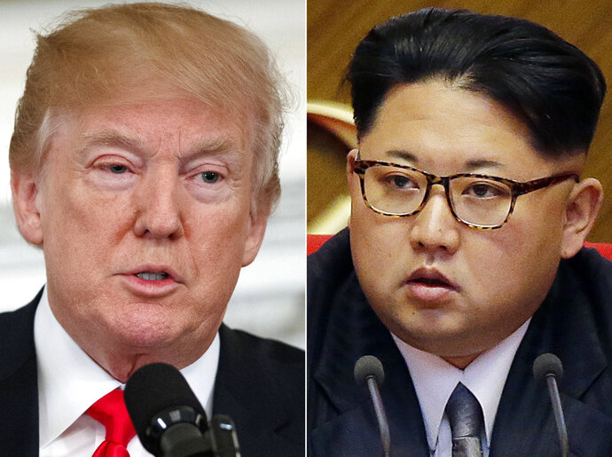 FILE - This combination of two file photos shows U.S. President Donald Trump, left, speaking in the State Dining Room of the White House, in Washington on Feb. 26, 2018, and North Korean leader Kim Jong Un attending in the party congress in Pyongyang, North Korea on May 9, 2016. Kim Jong Un is