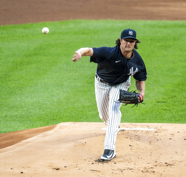 New York Yankees pitcher Gerrit Cole throws during the first inning of an intrasquad game during baseball practice Tuesday July 7, 2020, in New York. (J. Conrad Williams Jr./Newsday via AP)