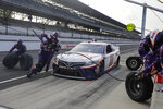 Denny Hamlin pits during a NASCAR Cup Series auto race at Indianapolis Motor Speedway in Indianapolis, Sunday, July 5, 2020. (AP Photo/Darron Cummings)
