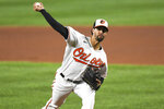 Baltimore Orioles relief pitcher Jorge Lopez delivers during the fifth inning of a baseball game against the Atlanta Braves, Monday, Sept. 14, 2020, in Baltimore. (AP Photo/Terrance Williams)