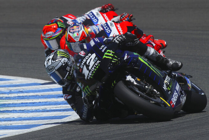 MotoGP Yamaha rider Maverick Vinales of Spain rides on his way to finishing 2nd during the Andalucia Motorcycle Grand Prix at the Angel Nieto racetrack in Jerez de la Frontera, Spain, Sunday July 26, 2020. (AP Photo/David Clares)