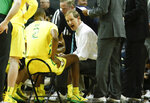 Oregon coach Dana Altman talks to his team during a timeout in the team's NCAA college basketball game against Washington on Thursday, Jan. 24, 2019, in Eugene, Ore. (AP Photo/Thomas Boyd)