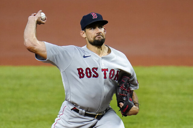 Boston Red Sox starting pitcher Nathan Eovaldi throws a pitch to the Baltimore Orioles during the first inning of a baseball game, Thursday, Aug. 20, 2020, in Baltimore. (AP Photo/Julio Cortez)