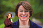 Democratic presidential candidate U.S. Sen. Amy Klobuchar arrives on stage to speak at the first-ever