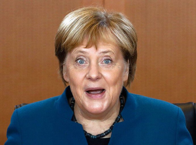 German Chancellor Angela Merkel attends the weekly cabinet meeting of the German government at the chancellery in Berlin, Germany, Wednesday, Nov. 6, 2019. (AP Photo/Markus Schreiber)