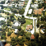 FILE - In this Aug. 13, 1969 file photo an aerial view of the home of Leno and Rosemary LaBianca in the Los Feliz district of Los Angeles. The home, which is one of the Los Angeles houses where followers of Charles Manson committed notorious murders in 1969, is for sale. (AP Photo, File)