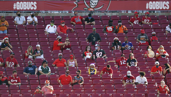 FILE - In this Dec. 13, 2020, file photo, socially distanced fans watch the second half of an NFL football game between the Minnesota Vikings and the Tampa Bay Buccaneers in Tampa, Fla. The dip in revenue for the NFL during the pandemic has been substantial but not crippling. The biggest negative is revenues being on the low end of what was hoped because of limits on crowds in most NFL cities. (AP Photo/Jason Behnken, File)