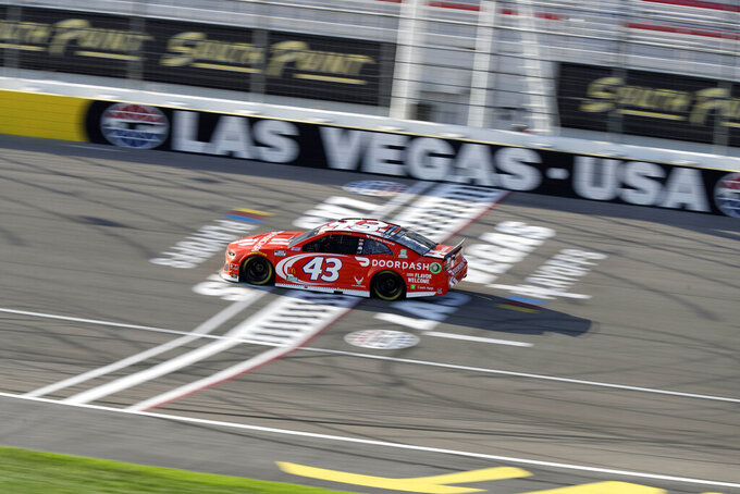 Bubby Wallace drives during a NASCAR Cup Series auto race Sunday, Sept. 27, 2020, in Las Vegas. (AP Photo/Isaac Brekken)