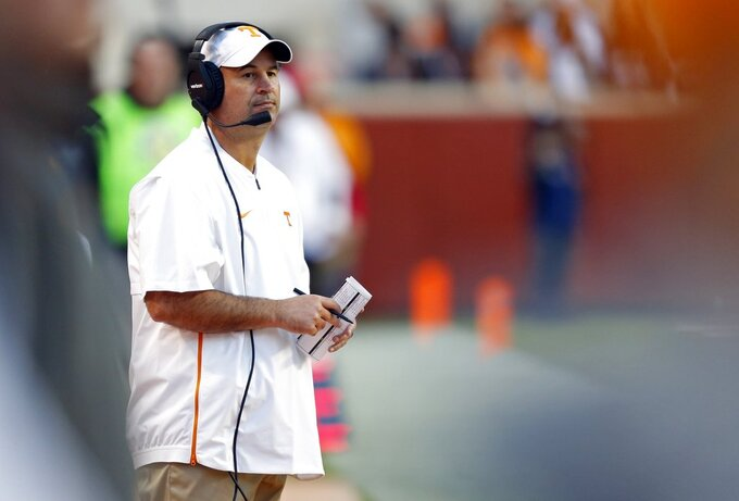 Tennessee head coach Jeremy Pruitt looks on during the second half of an NCAA college football game against Alabama Saturday, Oct. 20, 2018, in Knoxville, Tenn. Alabama won 58-21. (AP Photo/Wade Payne)