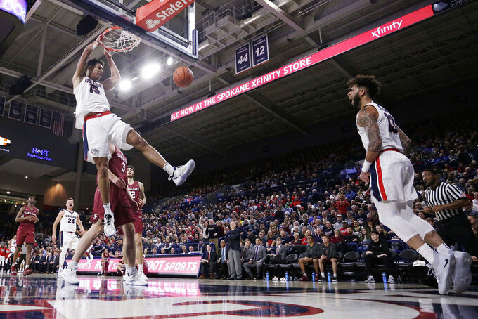 Gonzaga forward Brandon Clarke (15) dunks as guard Josh Perkins (13) reacts during the first half of an NCAA college basketball game against Santa Clara in Spokane, Wash., Saturday, Jan. 5, 2019. (AP Photo/Young Kwak)