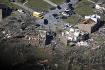 This Tuesday, March 3, 2020 aerial photo shows the Stanford Estates neighborhood near Donelson Christian Academy after a tornado ripped through Nashville, Tenn. George Walker IV/The Tennessean via AP)