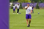 Minnesota Vikings kicker Greg Joseph practices lining up a kcik during the NFL football team's training camp, Thursday, Aug. 5, 2021, in Eagan, Minn. (AP Photo/Jim Mone)