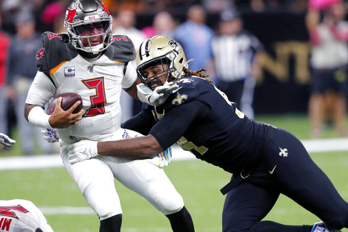 New Orleans Saints defensive end Cameron Jordan (94) sacks Tampa Bay Buccaneers quarterback Jameis Winston (3) in the second half of an NFL football game in New Orleans, Sunday, Oct. 6, 2019. The Saints won 31-24. (AP Photo/Bill Feig)