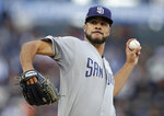 San Diego Padres pitcher Joey Lucchesi works against the San Francisco Giants during the first inning of a baseball game Wednesday, June 12, 2019, in San Francisco. (AP Photo/Ben Margot)