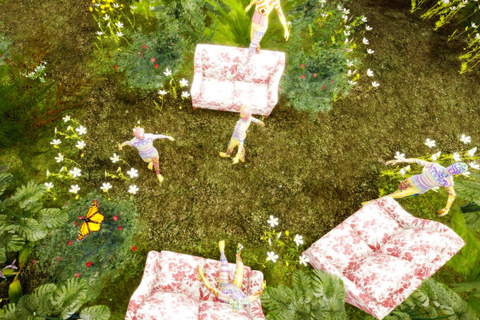 This computer generated image shows a Gucci virtual garden on Roblox. Anyone whose avatar is traipsing around the Roblox online game platform these days might run into other avatars sporting Gucci handbags, sunglasses or hats. The digital-only items are part of the Gucci's time-limited collection for Roblox, as the Italian fashion house that prides itself on hand-craftsmanship is dipping its toes into an expanding virtual space where many of its youngest fans already are at home. (Roblox via AP)