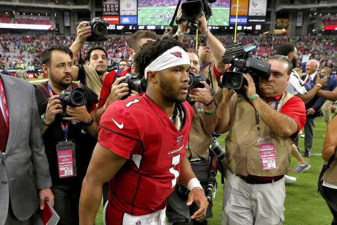 Arizona Cardinals quarterback Kyler Murray leaves the field after an NFL football game against the Seattle Seahawks, Sunday, Sept. 29, 2019, in Glendale, Ariz. The Seahawks won 27-10. (AP Photo/Ross D. Franklin)