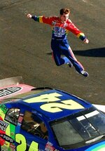 FILE - In this Nov. 16, 1997, file photo, driver Jeff Gordon, from Pittsboro, Ind., jumps completely in the air from the roof of his DuPont Chevrolet after winning the NASCAR Winston Cup Championship at the Atlanta Motor Speedway in Hampton, Ga. Gordon headlines the 10th class of the NASCAR Hall of Fame for his storied career on and off the track. He'll be inducted on Friday night, Feb. 1,2019, along with NASCAR team owners Roger Penske and Jack Roush. (AP Photo/John Bazemore, File)