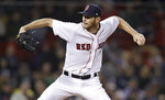 Boston Red Sox starting pitcher Chris Sale delivers during the fifth inning of the team's baseball game against the Oakland Athletics at Fenway Park in Boston, Wednesday, May 16, 2018. (AP Photo/Charles Krupa)