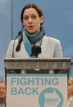 Annunziata Rees-Mogg speaks during the launch of the Brexit Party's European election campaign, Coventry, England, Friday, April 12, 2019. On Friday, Nigel Farage launched the campaign of his newly formed Brexit Party. The former U.K. Independence Party leader said delays to Brexit were